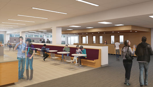 Library patrons can relax and enjoy refreshments in Silverman's new Café.