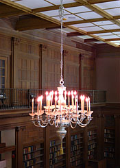 photo of one of two chandeliers in Austin Flint Reading Room, HSL circa 2003