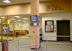 photo of HSL first floor elevator and Art Study Area circa 2003