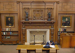 photo of carved fireplace mantle, Austin Flint Reading Room, HSL circa 2003