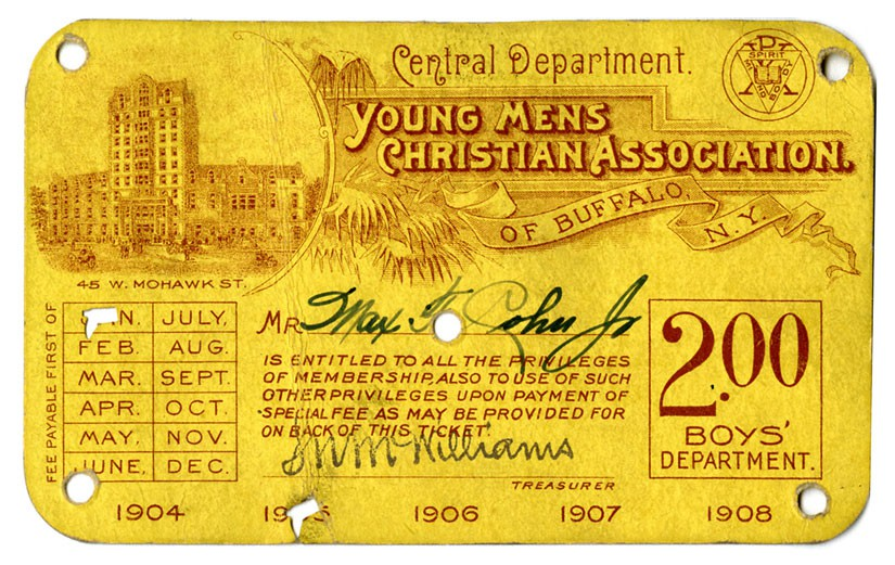YMCA of Buffalo membership card from 1905