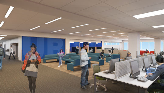 The East Lounge features social space, as well as access to computing sites.