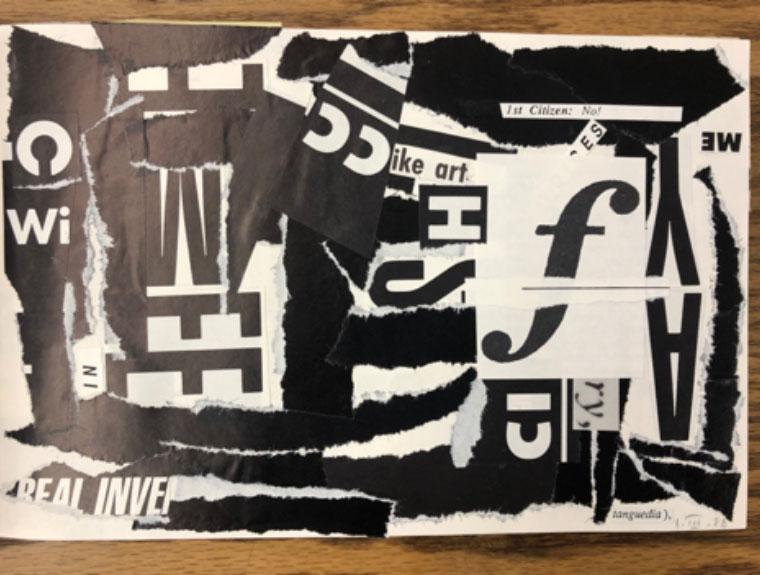 collage from artist's book, C: tableau, lyrique et que, 1988 image 2